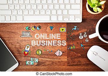 arbeitsstation, begriff, geschaeftswelt, online