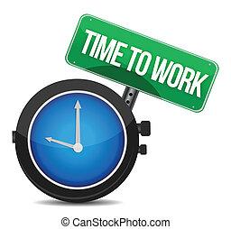 arbejde, begreb, illustration, tid