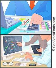 arbejde, computer, beregn, folk branche