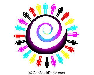 arbejde, farverig, begreb, hold