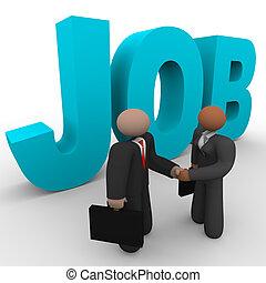 arbejde, -, folk branche, håndslag