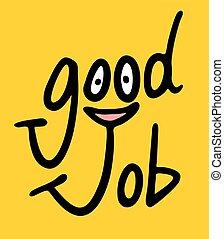 arbejde, gode, meddelelse