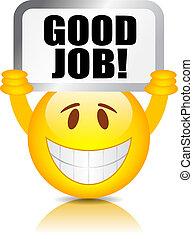 arbejde, gode, smiley