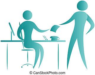 arbejde, receptionist, folk branche