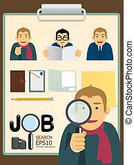 arbejde, sæt, characters., vektor, søgen