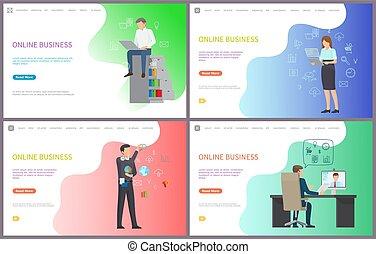 arbejde, snakker, branche folk, pc., online, boss
