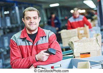 arbejder, hos, barcode, skanner, hos, opmagasinere