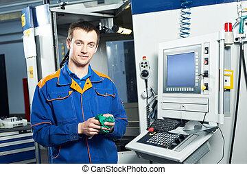 arbejder, hos, værktøj, værksted
