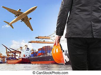 arbejder, kommerciel, skib, flyvemaskine, havn, mand, last, flyi, luft
