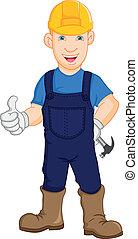 arbejder, konstruktion, repairman
