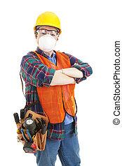 arbejder, konstruktion, -, sikkerhed, kvindelig