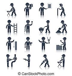 arbejder, konstruktion, sort, iconerne
