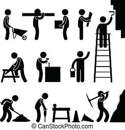 arbejder, konstruktion, vanskelig labor