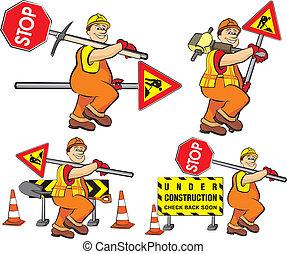 arbejder, konstruktion, -, vej, under