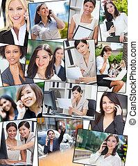 arbejder, kontor branche, succesrige, celle telefon, kvinder