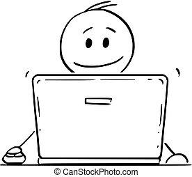 arbejder, laptop, notesbog, eller, computer, forretningsmand, smil, cartoon, mand