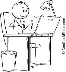 arbejder, laptop, notesbog, eller, computer, typing, forretningsmand, smil, cartoon, mand