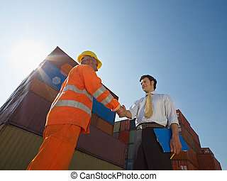 arbejder, last, håndbog, beholdere, forretningsmand