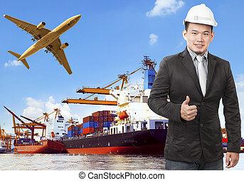 arbejder, mand, og, kommerciel, skib, på, havn, og, luft last, flyvemaskine, flyi
