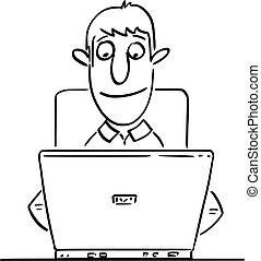 arbejder, mand, vektor, glade, komisk, forfatter, typing, forretningsmand, arbejder, computer, cartoon, eller, kontor