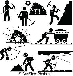 arbejder, mining, labor, minearbejder, folk
