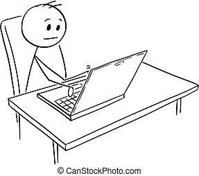 arbejder, notesbog, cartoon, computer, forretningsmand, eller, mand