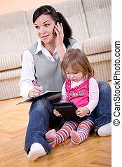 arbejder, og, parenting