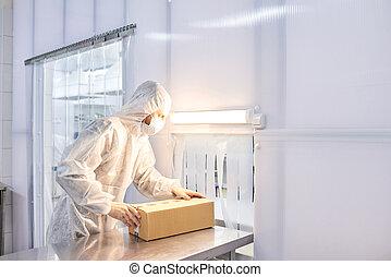 arbejder, pakning, medicinal, produkter