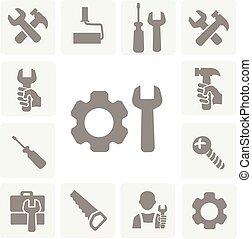 arbejder, redskaberne, isoleret, iconerne, sæt, i, hammer, skiftenøgl, skruetrækker, og, måle tape, vektor