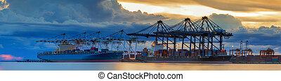 arbejder, skib, lastning, beholder, fragt, kran, last