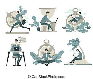 arbejder, tid ur, eller, ledelse, forretningsmand, timeglas, hours