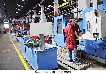 arbejdere, folk ind, fabrik