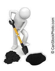 arbejdere, -, gardener-digger, samling