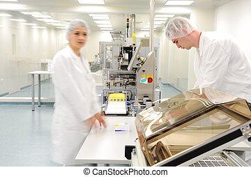 arbejdere, hos, moderne, medicin, fabrik
