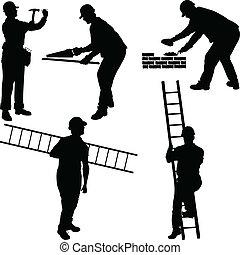 arbejdere, konstruktion, adskillige