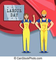 arbejdere, konstruktion, dag, labour, fest