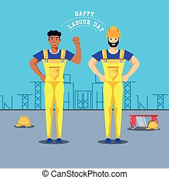 arbejdere, konstruktion, dag, labour, glade