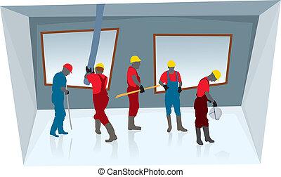 arbejdere, konstruktion, hold