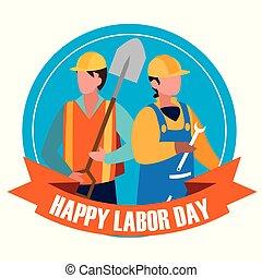 arbejdere, konstruktion, lukke op, dag, labour, fest