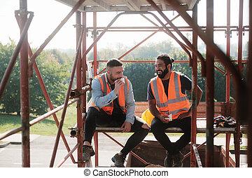 arbejdere, site, bryd, frokost, konstruktion, during, glade