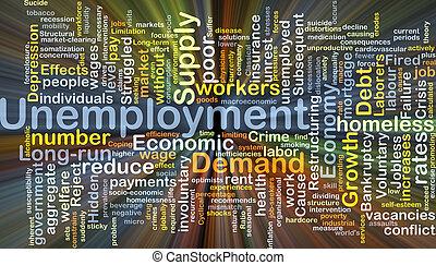 arbejdsløsheden, baggrund, begreb, glødende