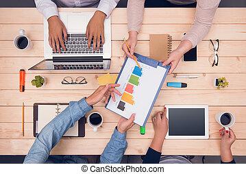 arbejdspladsen, top, udsigter., branche partner, diskuter, projekt