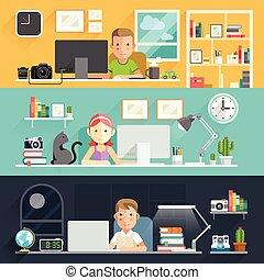 arbeta ämbete, affärsfolk, desk., vektor, illustration.
