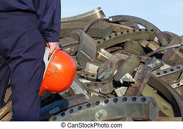 arbetare, återvinning, metall, centrera