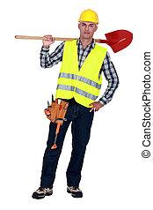 arbetare, bärande, a, spade