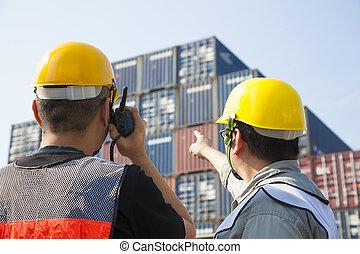arbetare, behållare, inspektion, diskussion, pekande