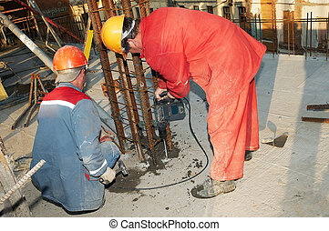 arbetare, byggmästare, drill, och, konkret, förstärkning