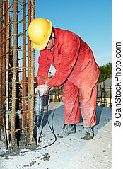 arbetare, byggmästare, och, konkret, formwork