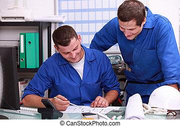 arbetare, dela ett skämt, in, kontoren