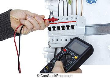 arbetare, elektrisk, provare